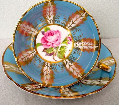 Paragon Stunning Hand Painted Pink Rose, Blue and Rich Gold Fine Bone China Cup