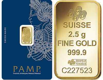 One Hundred (100) 2.5 Gram PAMP Suisse .9999 pure Gold Bars - FREE shipping