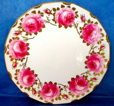 Royal Doulton Cake Plate Hand Painted by famous Emma Harrison Pink & Gold Roses
