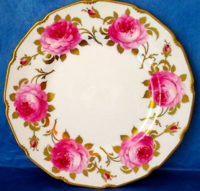 Royal Doulton Antique Plate Hand Painted by E. Wood Pink Roses Heavy Gold