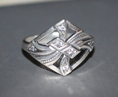 Vintage grandmas estate art deco solid sterling silver 925 crystal ring size 6