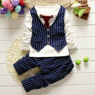 Toddler Baby Boy Formal Suit Top+ Long Pant Gentleman Kids Set Clothes Outfits