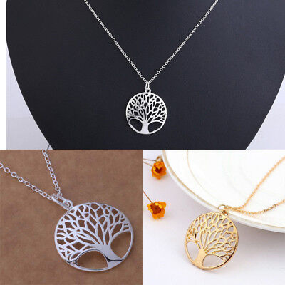 Gold Silver Necklace Jewelry Charm tree of Life women Fashion Cute Pretty