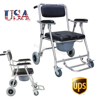 Adult Toilet Padded Seat mobile Commode Chair Bedside Swing footrest Wheelchair