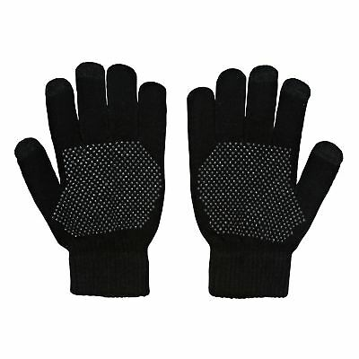 Derby House Warm Knitted Palm Grip Mens Gloves Everyday Riding Glove - Black
