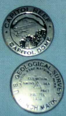 CAPITOL REEF NATL MONUMENT pewter collectible token CAPITOL DOME / BENCH MARK