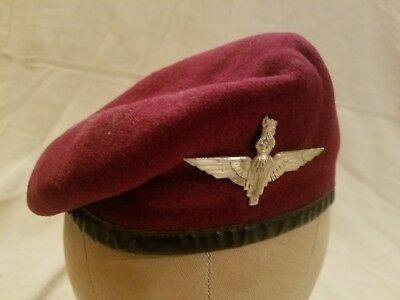 WWII Original British Airborne Maroon Beret With Badge