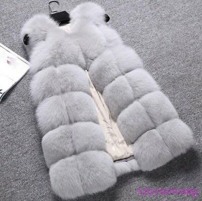Real Ladies Fox Fur Gilet Thicken Winter Warm Coat Jacket Vest Waistcoat Outwear