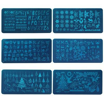 AU Christmas Nail Art Stamping Plates Image Stamp Stencils Template Manicure DIY