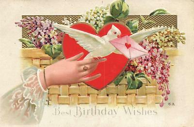 EARLY 1900s VINTAGE EMBOSSED DOVE HEART & LADY'S HAND HAPPY BIRTHDAY POSTCARD