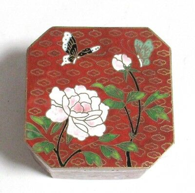 Small Chinese Cloisonne Red Enamel Butterfly Design Trinket Jar Box