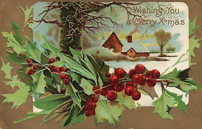 EARLY 1900s VINTAGE EMBOSSED HOLLY BERRIES WINTER SNOW CHRISTMAS WISHES POSTCARD
