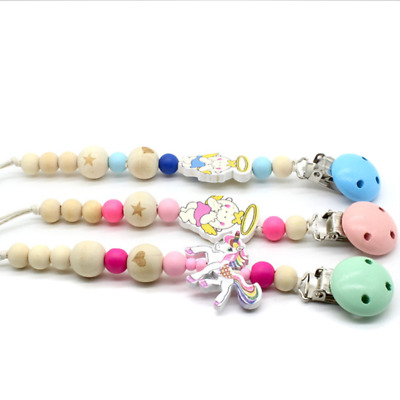 Baby Dummy Chain Wood Pacifier Clip Bead Cartoon Clip Strap Anti-drop Infant Toy