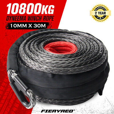 Winch Rope 10MM x 30M Dyneema SK75 hook Synthetic Car Tow Recovery Cable 4WD BLK