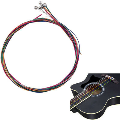 Set of 6 Replacement Steel Acoustic Guitar Strings Good Quality Colorful