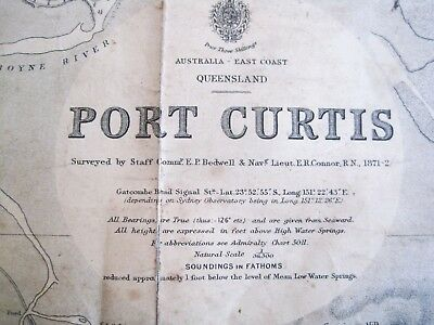 Old 1930's Antique lithograph Map Port Curtis Gladstone Harbour Qld Australia