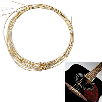 Set of 6 Replacement Steel Acoustic Guitar Strings Good Quality Yellow