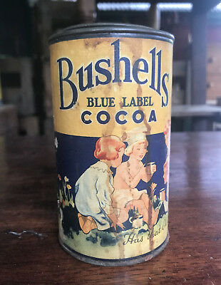 Extremely Rare Bushells Cocoa Tin Paper Label C1930