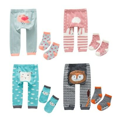Kids Baby Cartoon Leggings Boys Girls Warm Cotton PP Pants Trousers+Socks 0-6 Y