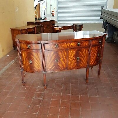 Stunning Georgian Style Large Breakfront Inlaid Flamed Mahogany Sideboard