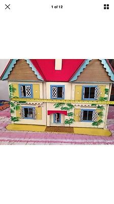 Vintage retro 1950/60's  Gee Bee  dolls house cottage with vintage furniture