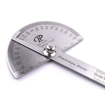 Pro Stainless Steel 0-180° Protractor Angle Finder Arm Rule Measure Ruler