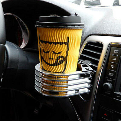 1pc Universal Metal Auto Car Air Vent Outlet Cup Holder Drink Bottle Stand Mount