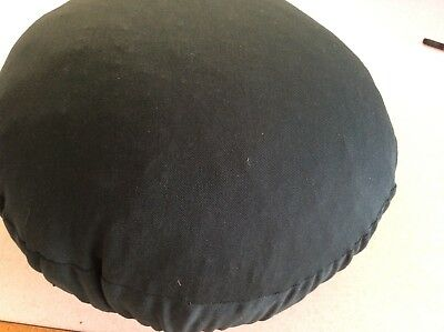 """Honiton Lace Pillow covered in green fabric approx 12"""" diameter"""