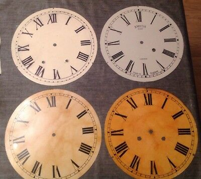 "Antique Wall Dial Clock Dial 12"" Collection Of Four Uncleared Unrestored"