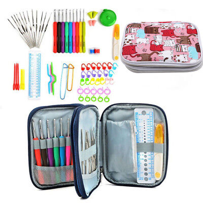 72Pc/Lots Knitting Tools Crochet Needle Hook Accessories Supplies W/  Case Knit