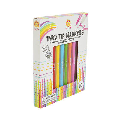NEW Tiger Tribe Two Tip Markers - Kids Textas Felt Brush Fine Tip Marker Set