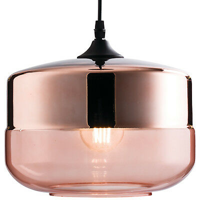 Hanging Ceiling Pendant Light –Gloss Copper Tinted Glass– Retro Round Lamp Shade