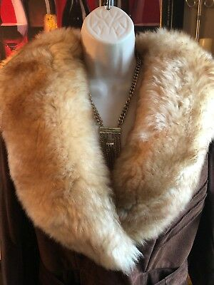 Stunning Vtg Retro Oversized Shearling Collar Brown Suede Long Belted Coat M L