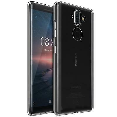 Nokia 8 Sirocco Thin Silicone Clear Case Cover Ultra Slim Shockproof Gel Back