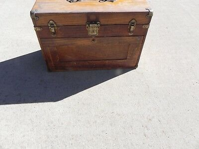 Vintage Wooden Machinist  7 Draw Tool Box