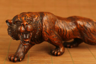 Big Antique chinese old Boxwood Hand Carved Tiger Statue Netsuke