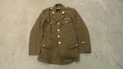Old Early WW2 era 1942 dated Army Dress Uniform Jacket & Insignia Used Condition