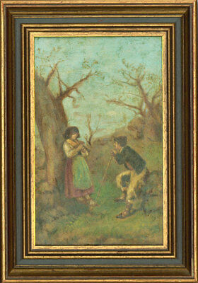 Framed Early 20th Century Oil - Couple in a Pastoral Landscape