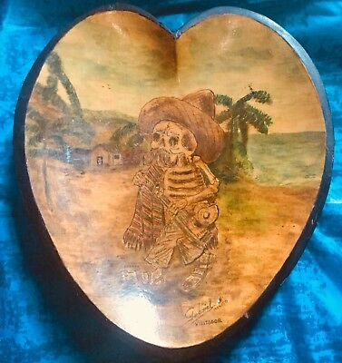 Jose Guadalupe Posada Hand Painted- Hand Carved Plate