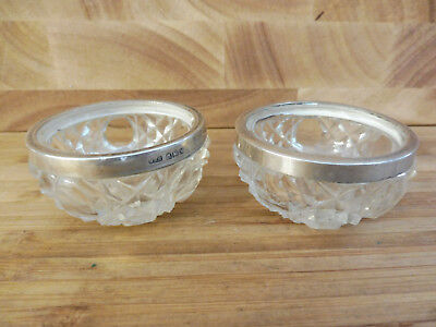 Found*pair Of Antique Silver Topped Cut Glass Crystal Table Salts # W.h.h 1921