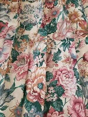 Two Vintage Pinch Pleat Drapes Curtains Floral Roses Lilies Daisies Shabby Chic