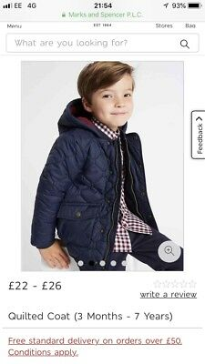Brand New M&S Baby Boys Coat 9-12 Months Never Worn Navy Quilted Coat