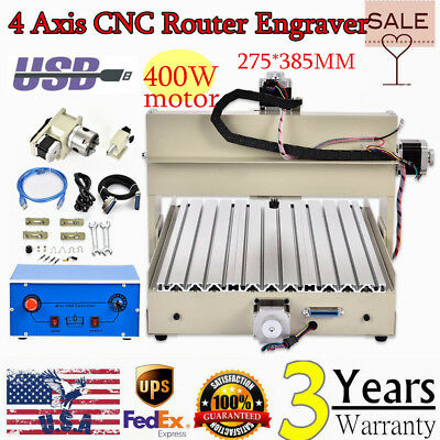 4Axis 3040 USB CNC Router PCB PVC Wood Milling Engraving Cutter Machine 400W USA