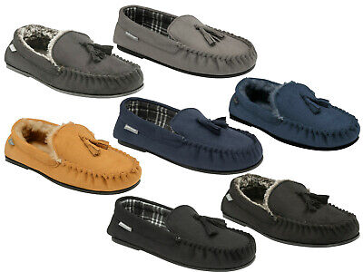 Mens Moccasins Slippers Loafers Faux Wool Fur Lined Warm Winter Shoes