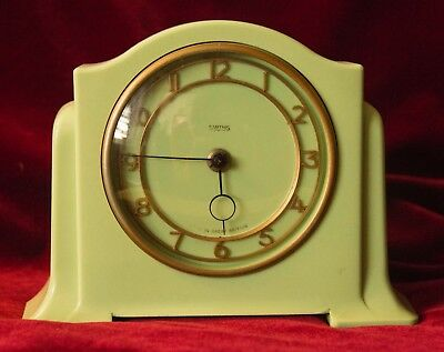 SMITHS ART DECO GREEN BAKELITE MANTLE CLOCK 1940's - clockwork