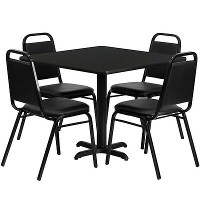 "Set of 10 Square Restaurant/Cafe/Bar Black Finish Table 36""  and Four Chairs"