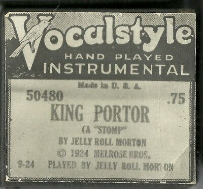 King Porter, played by Jelly Roll Morton, Vocalstyle 50480, Piano Roll recut