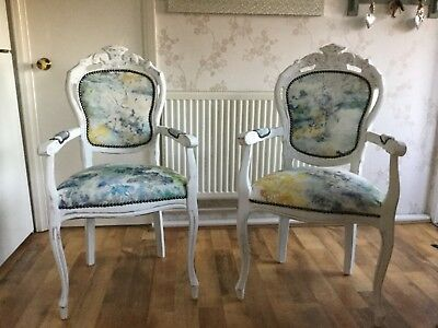 French Louis Style Vintage Decor Carver Bedroom Chair Antique Shabby Chic Dining