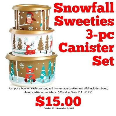 Tupperware NEW--SNOWFALL SWEETIES CANISTER 3PC SET.... BEST SALE $25- FREE SHIP