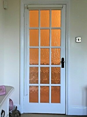 "Interior wood door 78"" x 30"" white painted 15x glass panel (1 available)"
